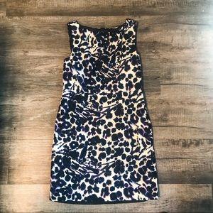 Ann Taylor Plus size White dress Animal Print 14